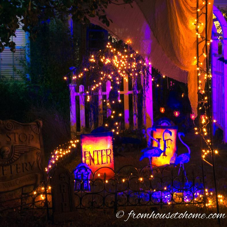 Halloween Outdoor Lighting Ideas 21 Spooky Ways To Light Your Yard Entertaining Diva From House To Home Outdoor Halloween Halloween House Halloween Outside