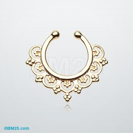 Golden Celestial Filigree Fake Septum Clip-On Ring -- a good way to try on a septum and see if u like the way it looks on u before u get an actual septum piercing