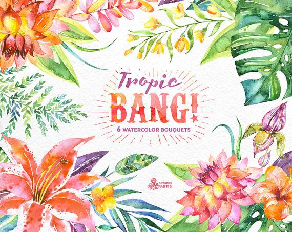 Tropic Bang Bouquets: 6 Watercolor Bouquets lily by OctopusArtis