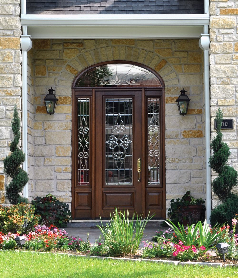Elegant Glass Entry Doors With Matching Sidelights And Transom In