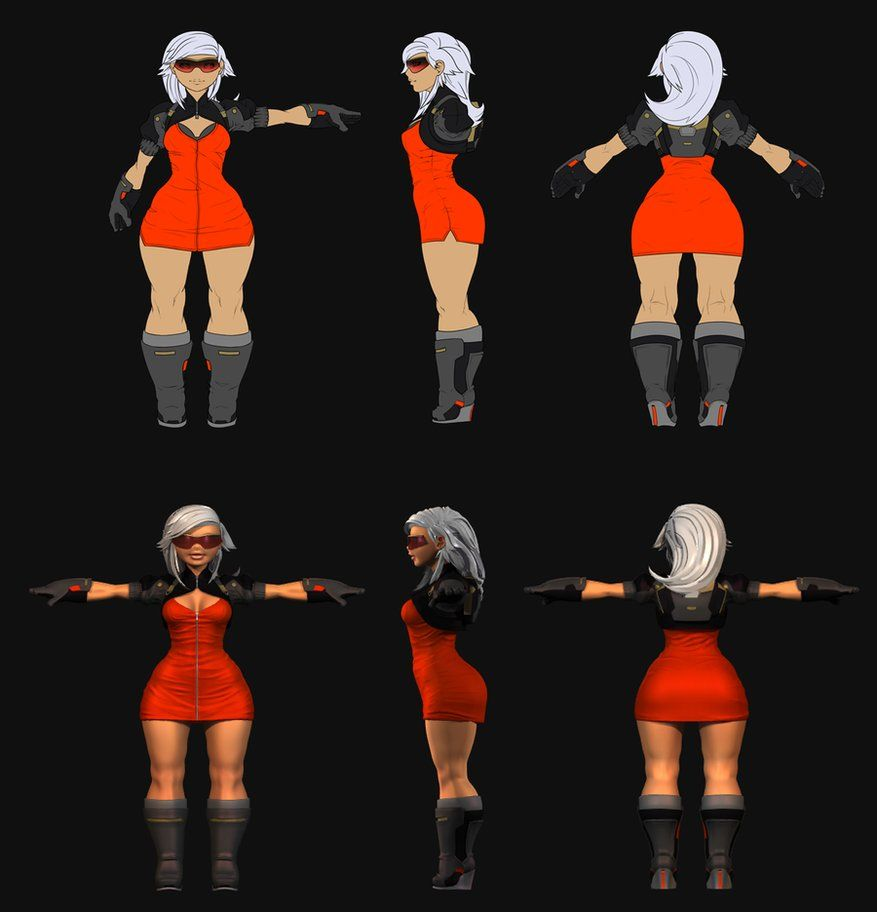 Stylized female girl character blueprint 3d orthographic stylized female girl character blueprint 3d orthographic turnaround malvernweather Images