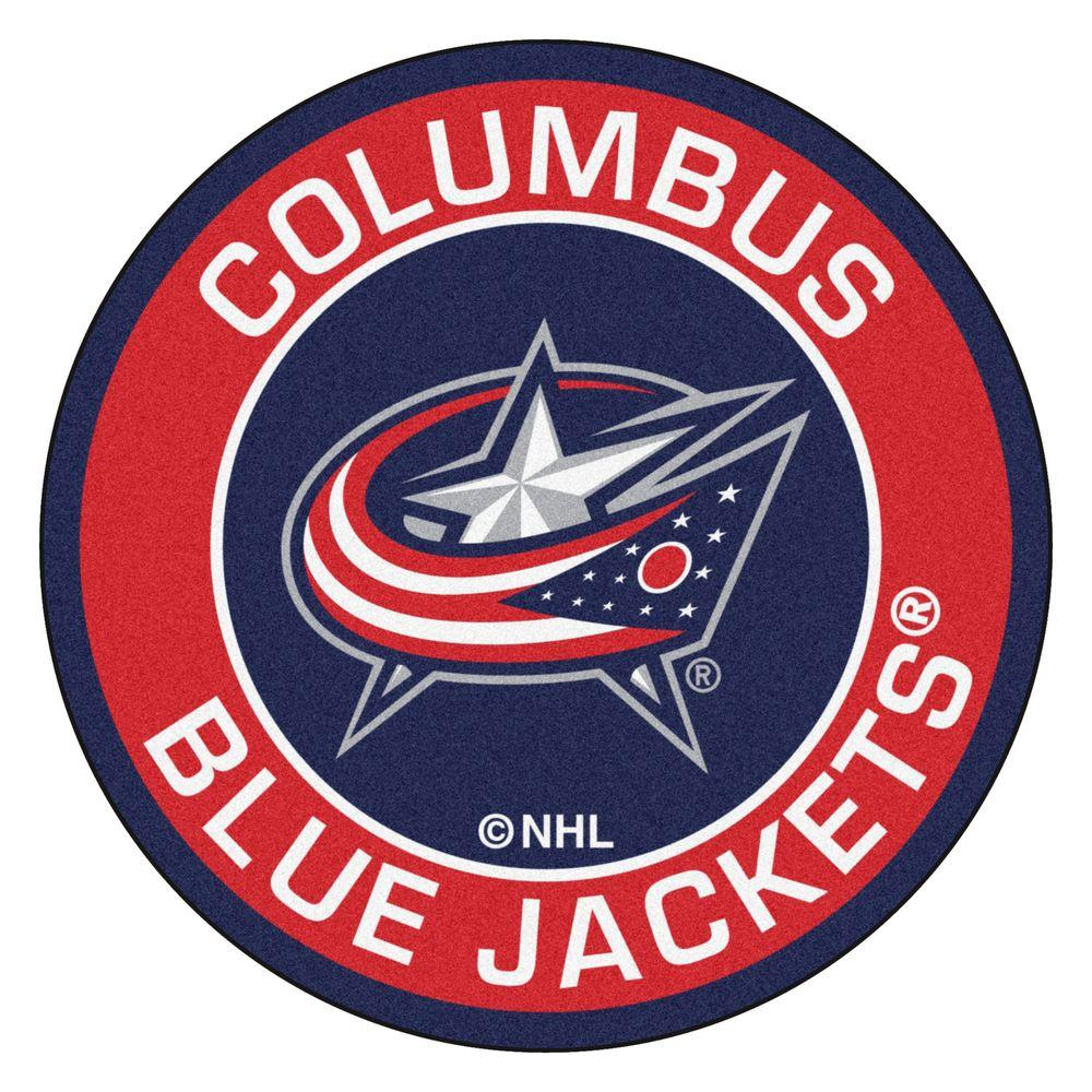 NHL Columbus Blue Jackets Red 2 ft. 3 in. x 2 ft. 3 in. Round Accent Rug