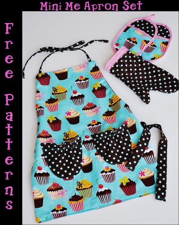 Kinderschürze naehen, mit Backhandschuh und Topflappen - Free ...