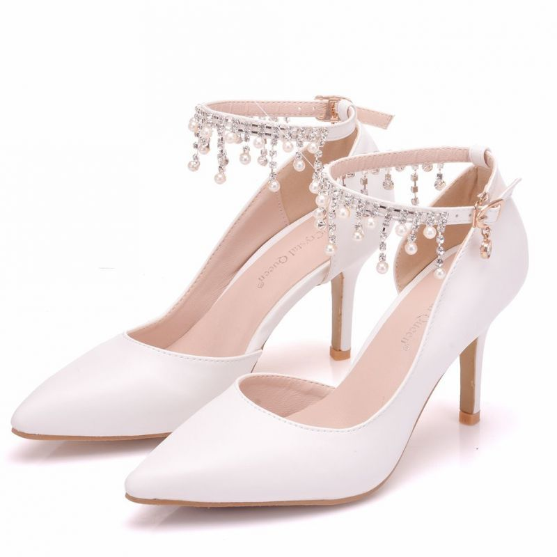 Proste Simple Biale Buty Slubne 2018 Perla Rhinestone Kutas 8 Cm Szpilki Szpiczaste Slub Wysokie Obcasy Bridal Sandals Heels Wedding Shoes Wedding Sandals