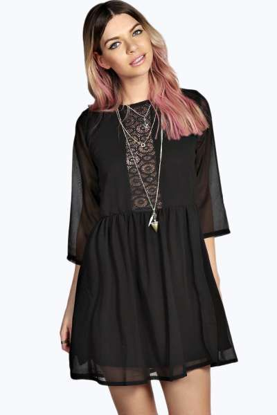 4a7fc4f347fe3 Albany Lace Insert Woven Smock Dress at boohoo.com | Greece | Smock ...