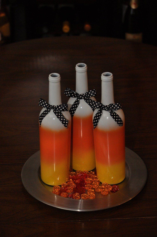 Candy Corn Wine Bottles Set Of 3 Halloween Home Decor Etsy Wine Bottle Crafts Christmas Halloween Wine Bottle Crafts Holiday Wine Bottles