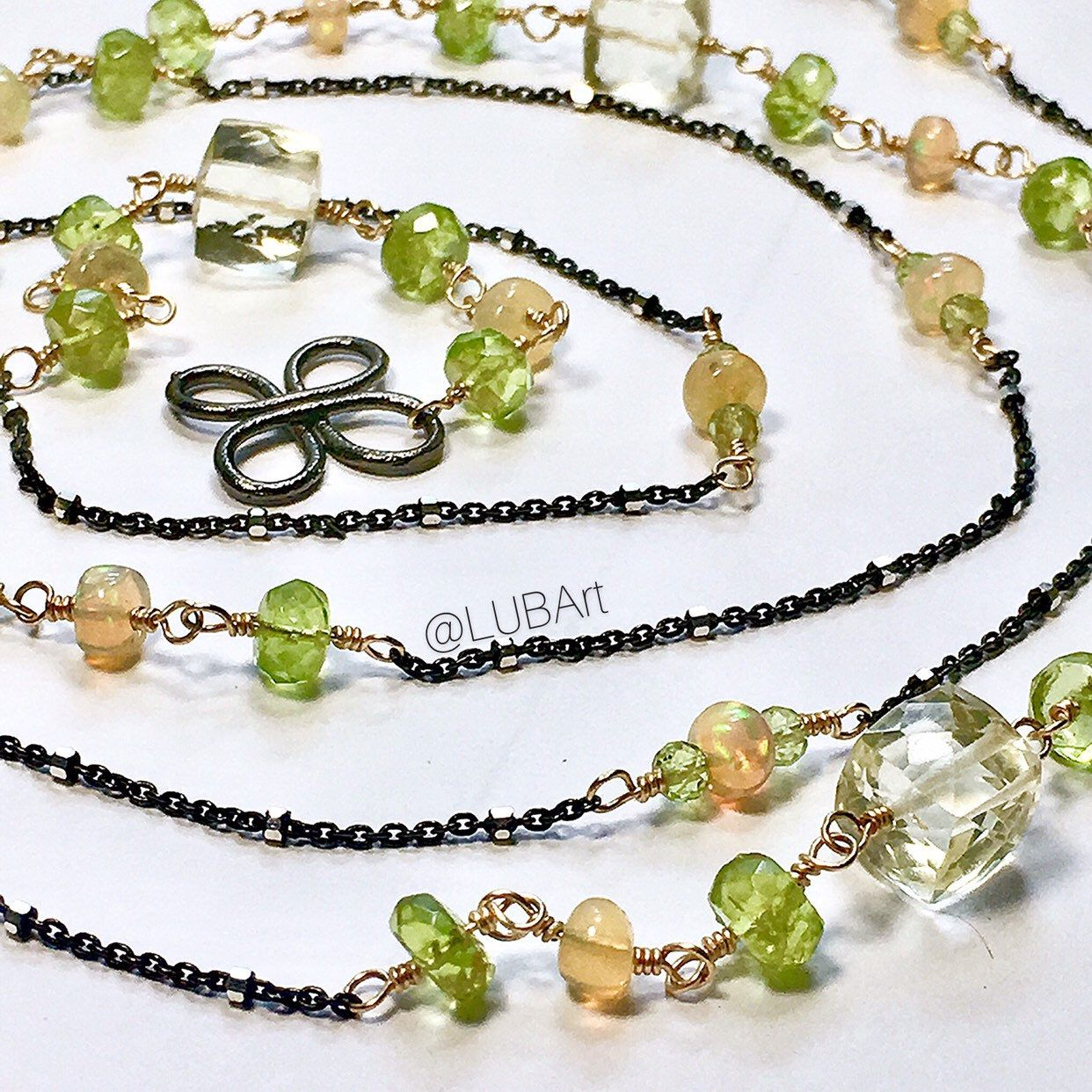 Quartz with Peridot Pendant//Necklace set in sterling silver Mix Sizes