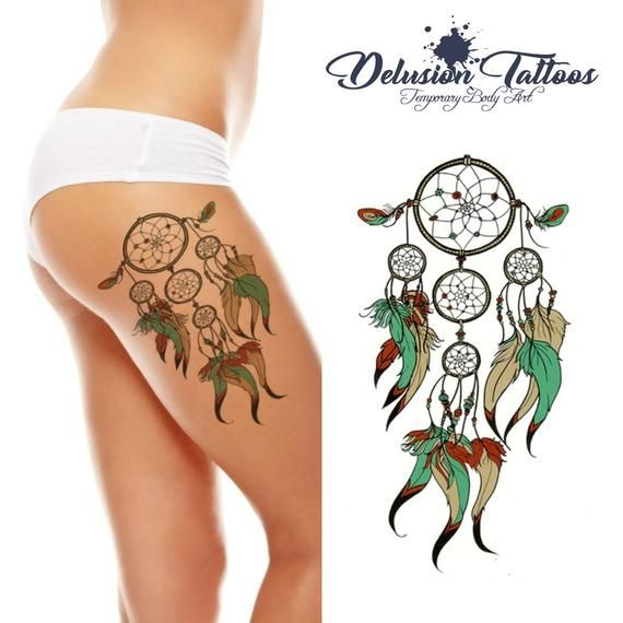Dream catcher indian large realistic temporary tat