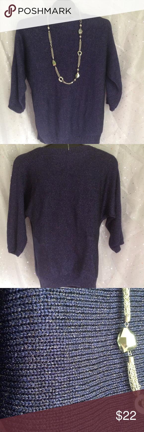 Chico's Size 1 (8-10) PURPLE Sparkle Sweater   Purple sparkle ...