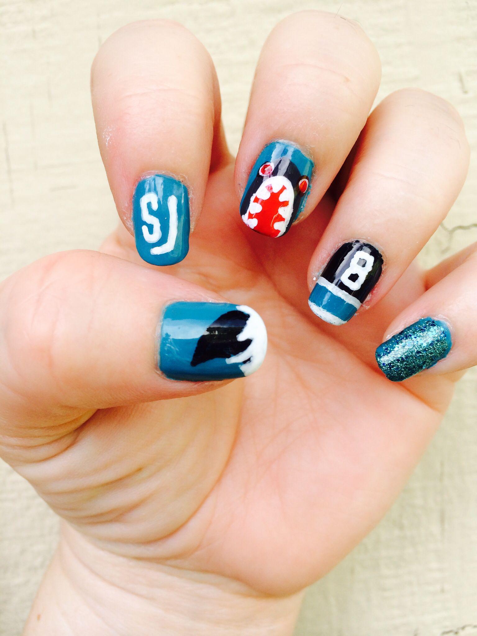My SJ Sharks playoff nails Nails, Nails only, Makeup nails