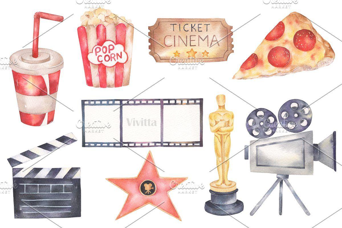 Aquarell Kino Film Pizza retro, #AFFILIATE, #Aquarell #gemalt #Elemente #t …   – Kids Sports Flyer