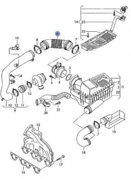 For the 2005 VW Jetta, the air intake parts are shown