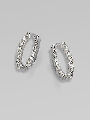 Roberto Coin 18k White Gold Diamond Extra Small Hoop Earrings Diamonds