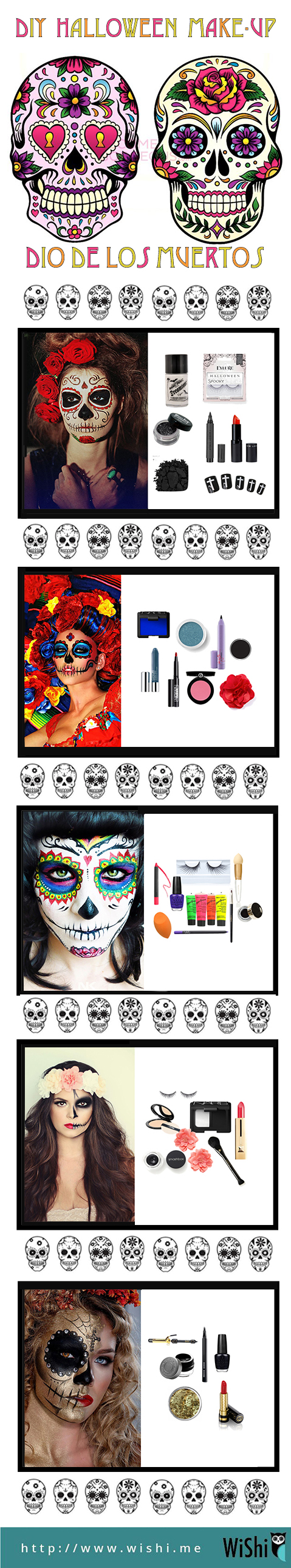 Fun makeup guide for what you'll need to do Dia de los