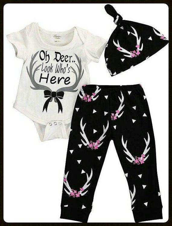 2ce0adb22bd6 NEWBORN GIRL Oh Deer Look Who s Here Clothing - Oh Deer I m Here ...