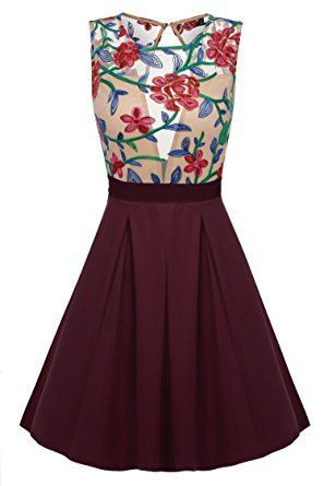 747144e220 Burgundy Floral Print See-Through Top Mini Skater Dress Moda Floral