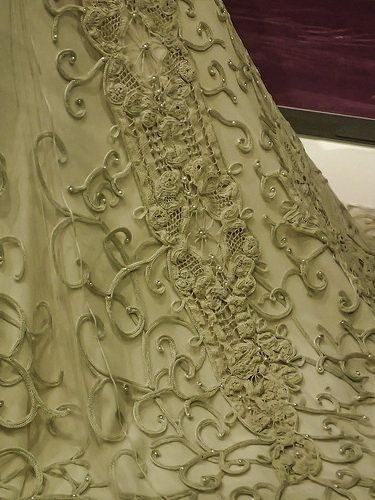 Detail of Padme Amidala's wedding dress at Star Wars the Power of Costume exhibit   by mharrsch