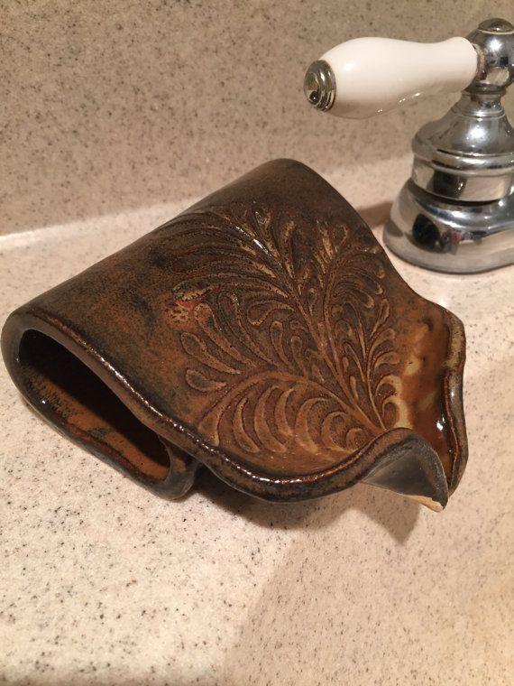 Self Draining Soap Dish, Soap Dish, Draining Dish, Ceramic Soap Saver in Waterfall Brown