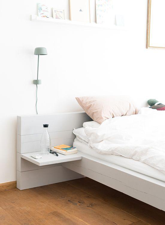 Diy Bett Als Blickfang Durch Massive Balken Optik Bett Selber Bauen Anleitung Bett Selber Bauen Diy Bett
