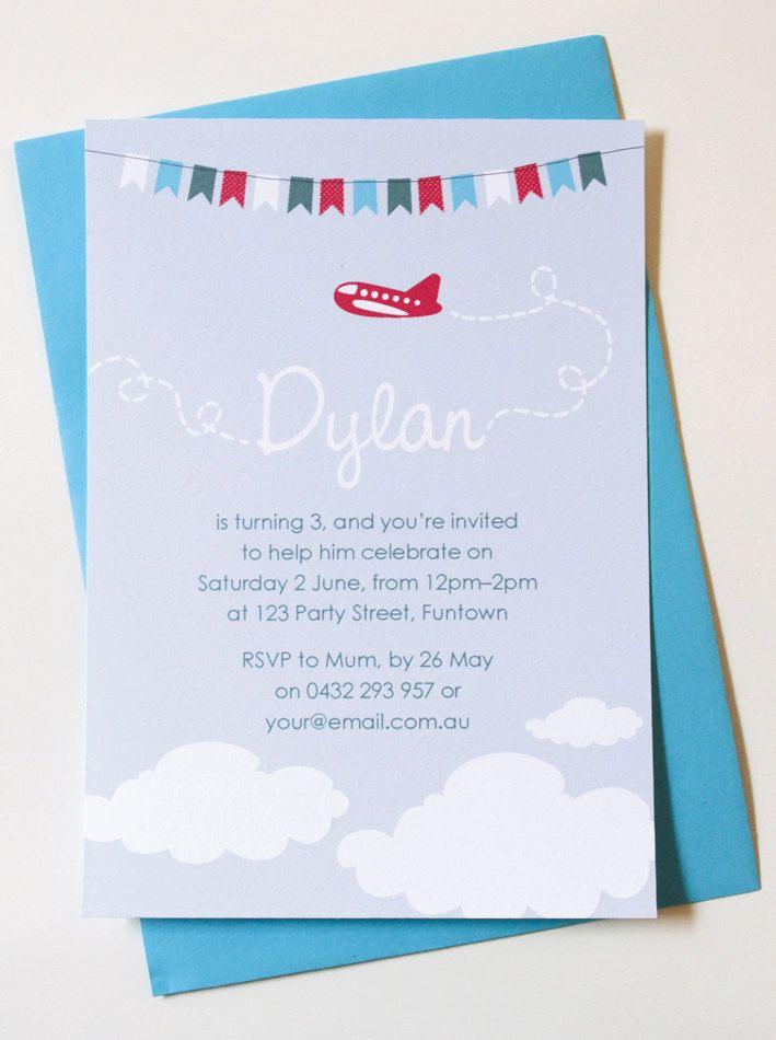 Personalised Plane Birthday Invitations. $25.00, via Etsy ...