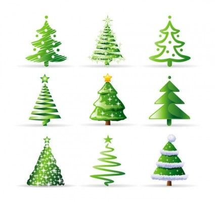 A Variety Of Cartoon Christmas Tree Vector Cartoon Christmas Tree Christmas Tree Collection Christmas Tree Images