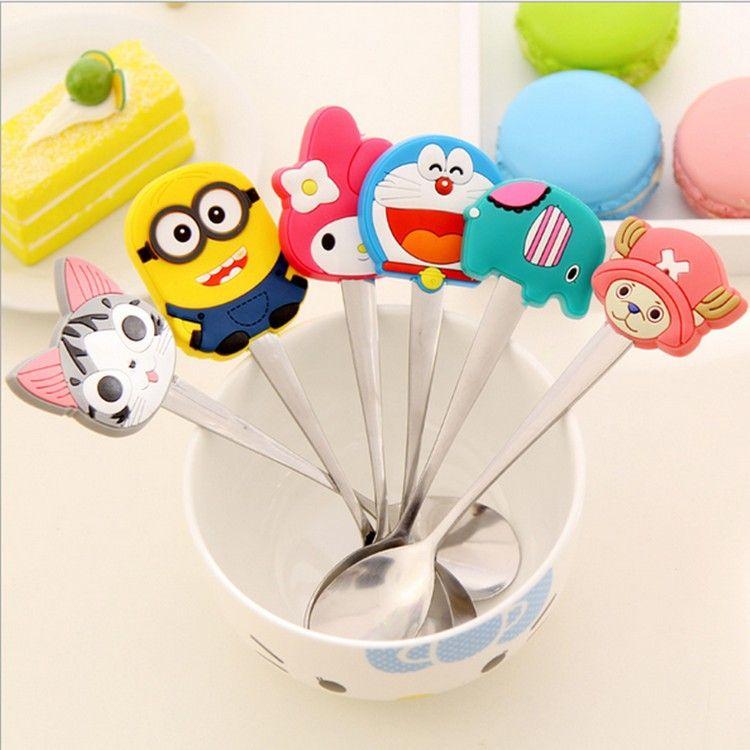 Stainless Steel Cartoon Mini Metal Soup Spoon Kids Spoon sticky - deko f r k chenw nde