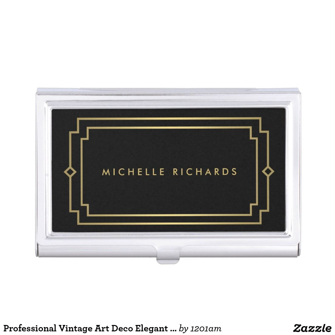 Professional Vintage Art Deco Elegant Gold, Black Business Card Case ...