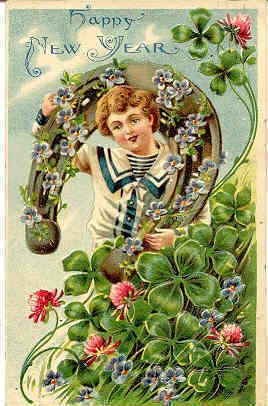 Wishing you all the luck in the world this New Year's! #vintage #New_Years #card #clover