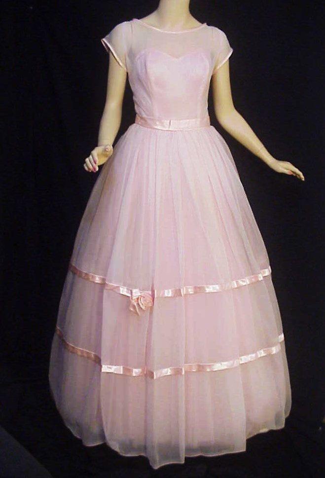 9806e90a5313 Ballerina Pink - Fab Vintage 60s Palest Pink Organza & Crinoline Evening  Gown/ Prom Dress