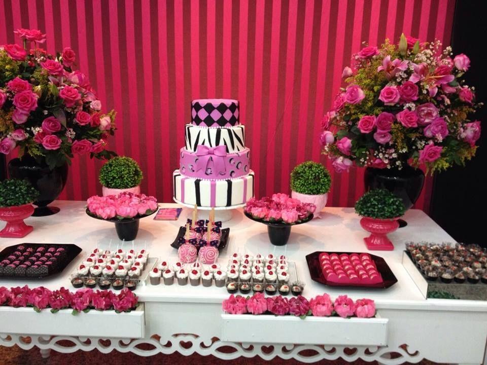Festa De 15 Anos Nas Cores Rosa Pink E Preto Realizada Pela