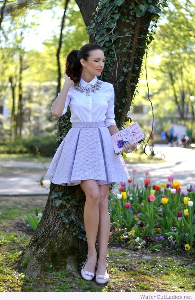 23d61c30c Fairytale light purple skirt, white shirt and bag with print ...