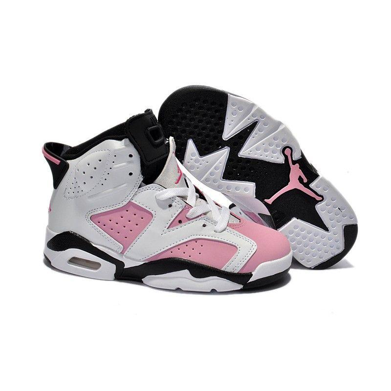 Kids Jordan 6 Retro White Black Pink in 2019  806bed6c0