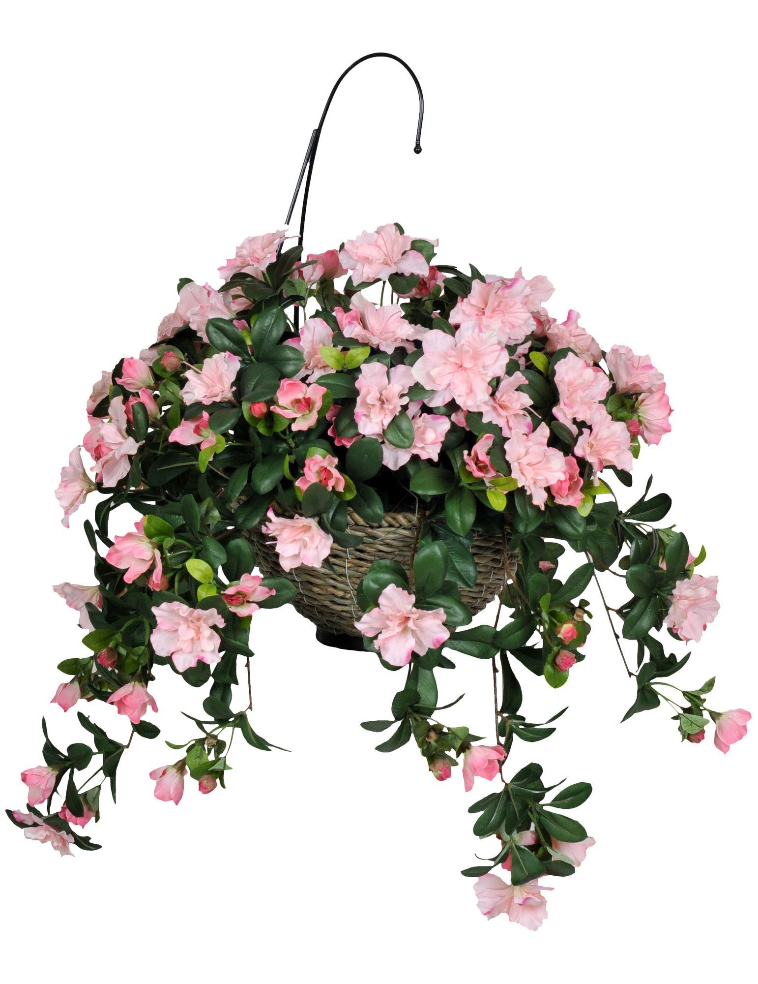 Artificial Azalea Hanging Plant in Basket (With images
