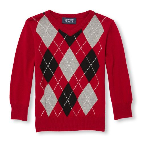 Baby Boys Toddler Boys Long Sleeve Argyle Sweater Red The