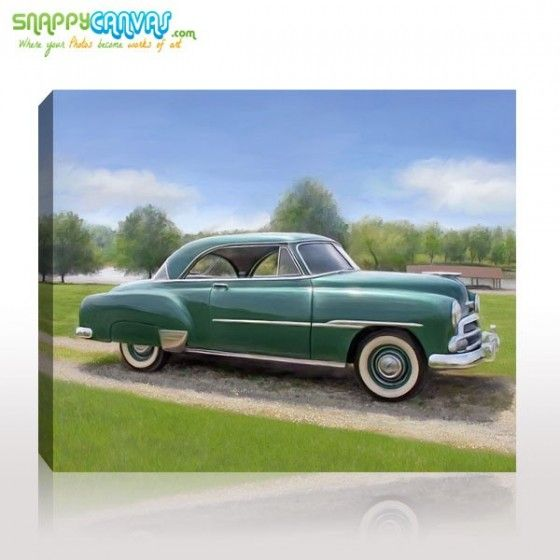 Beautiful car on oil portrait print for your wall by snappy canvas.