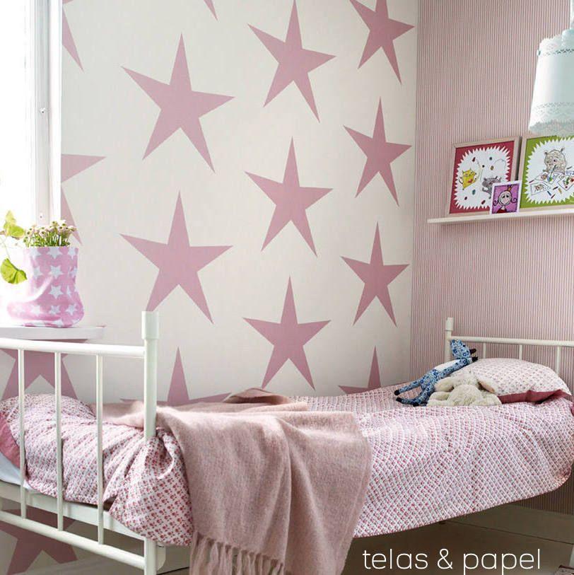 papel pintado infantil con grandes estrellas rosas, telas & papel ...
