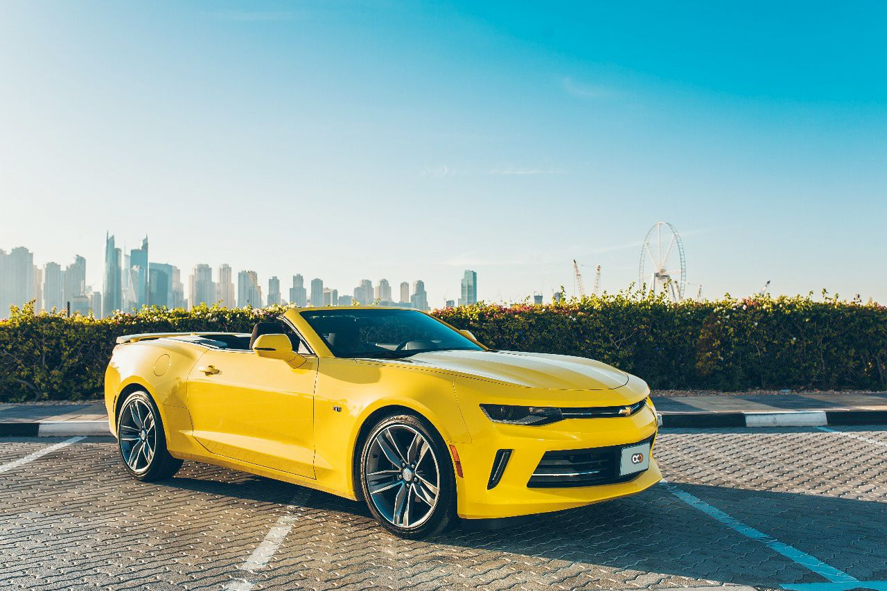 Drive The 2018 Chevrolet Camaro Rs Convertible In Dubai For Only Aed 850 Day Rental Cost Includes Comprehensive Super Cars Dubai Cars Hatchback Cars