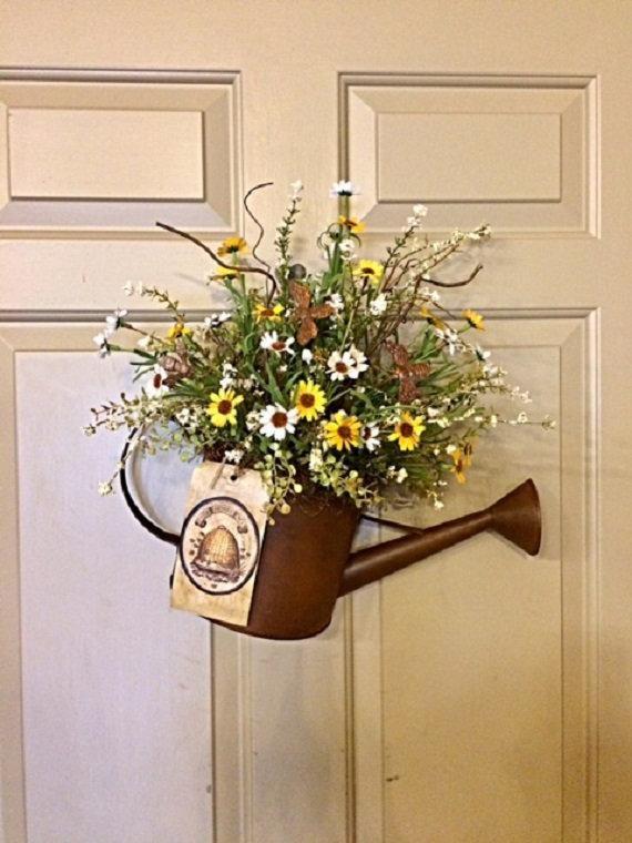 primitive country door decor honey bee and flowers rusty water can rh pinterest com
