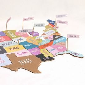 A large size printable map of the USA to make a jigsaw puzzle, plus a template for cute family history flags for extra fun