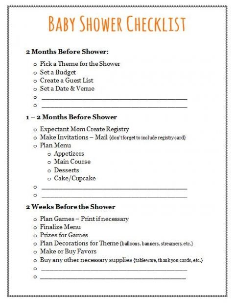 Baby Shower Checklist Plan Your Event Baby Shower To Do List