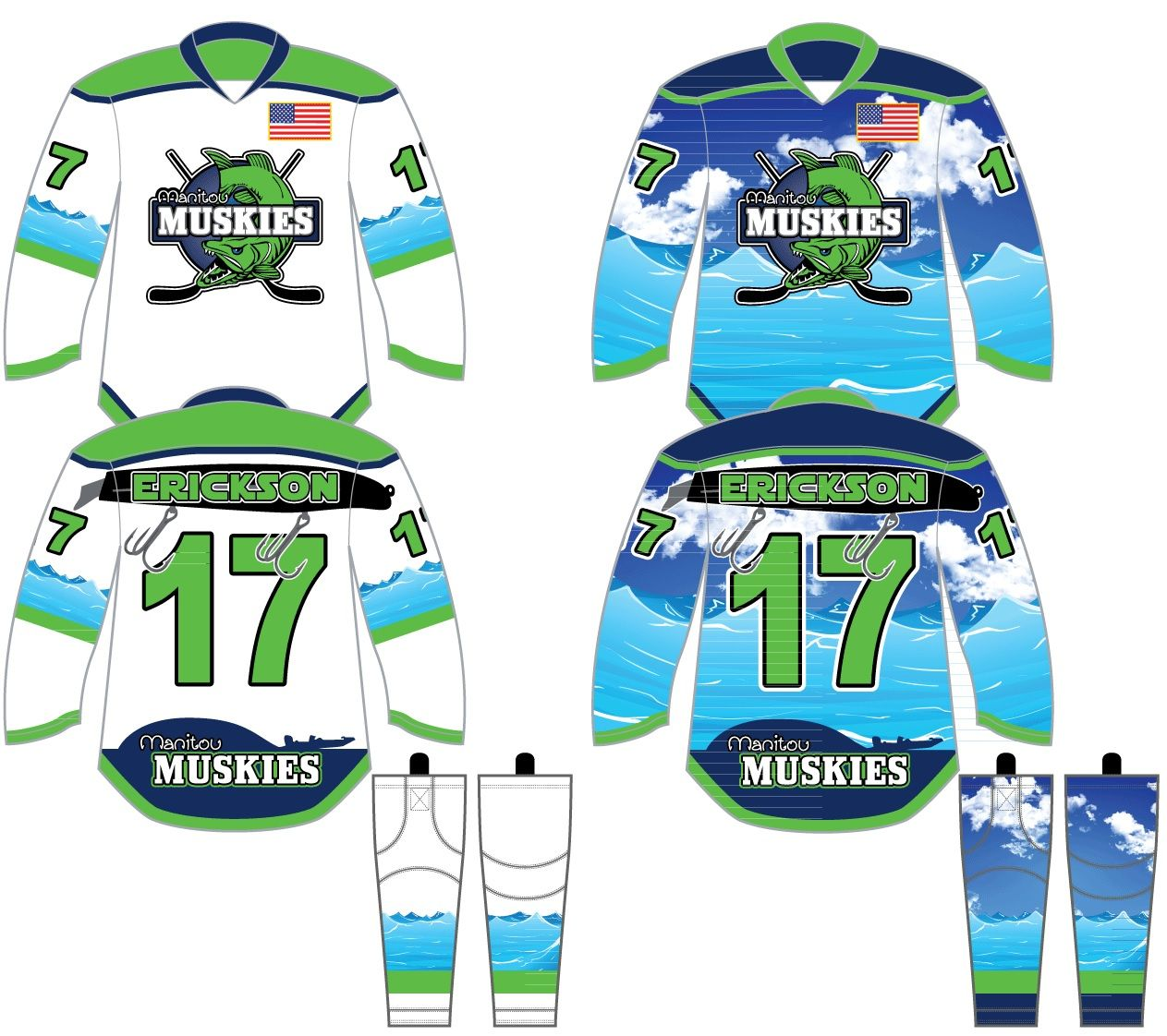 Some Of The Coolest Designs We Have Here The Manitou Muskies Got It Right Manitou Customjersey Customdes Custom Jerseys Jersey Design Custom Hockey Jerseys
