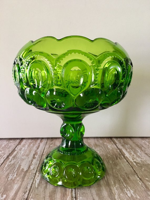 Smith Green Moon and Stars Footed Compote from L.E Mid Century