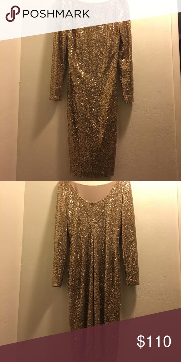 Gold sequent dress Ralph Lauren birthday/party 🎉🎉FANCY DRESS 🎂 Lauren Ralph Lauren Dresses Midi