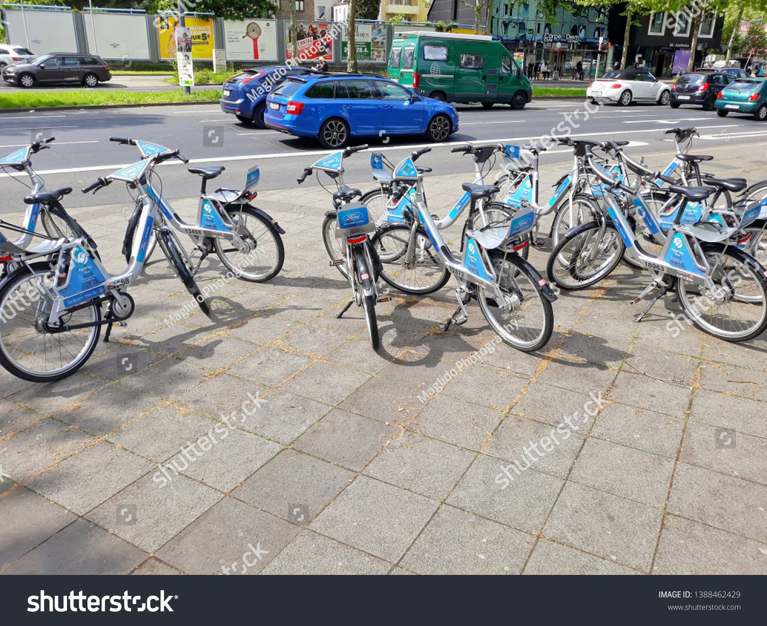 Close-up of many bicycles for rent in downtown of Cologne in Germany 2019 #Ad , #SPONSORED, #rent#bicycles#Close#downtown