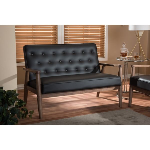Baxton Studio Sorrento Mid Century Retro Modern Brown Faux Leather  Upholsteredu2026