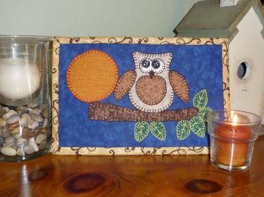 mug rugs free pattern | PDF Pattern for Harvest Owl Mug Rug, Owl Mug Rug Pattern, Owl Mini ...