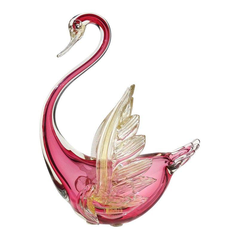 Barbini Murano Vintage Sommerso Red Gold Flecks Italian Art Glass Mid Century Swan Sculpture