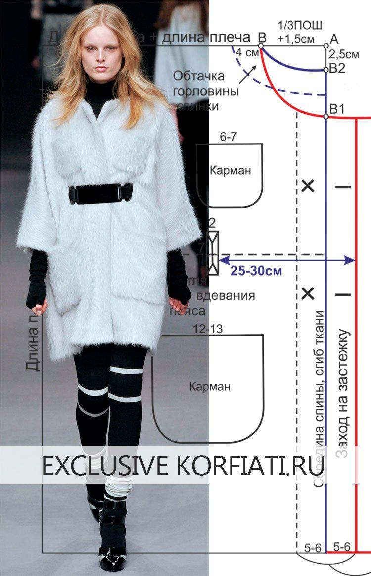 Это меховое пальто-накидка настоящая находка для начинающих портних. И шить и кроить такое пальто - проще простого. Выкройка пальто-накидки, построить