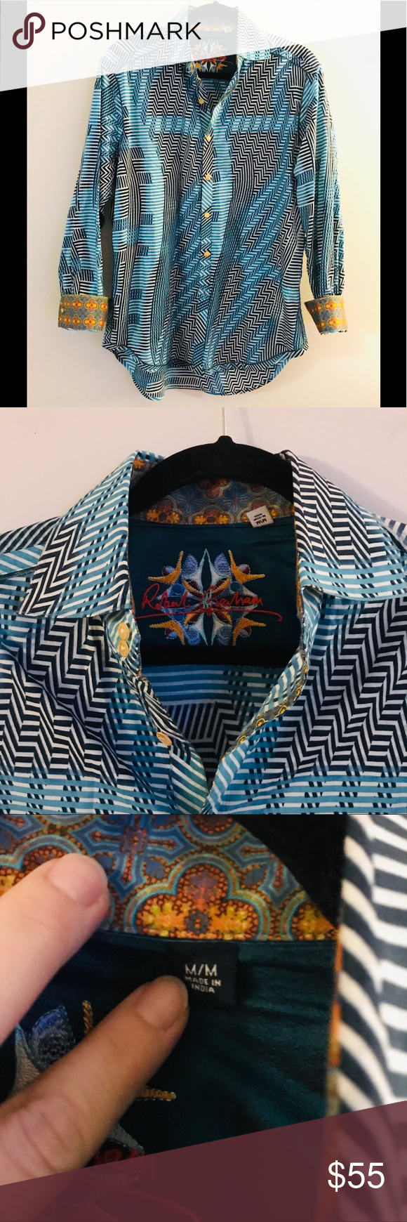 Robert Graham Geometric Button Up Sz Med Print Buttons Clothes Design Fashion