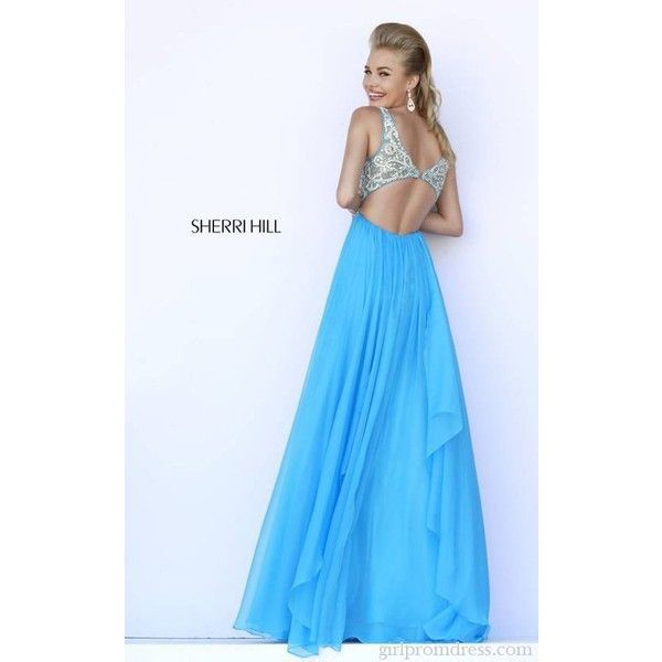 2015 Beaded Sherri Hill 5203 Blue Sexy Back Prom Gown